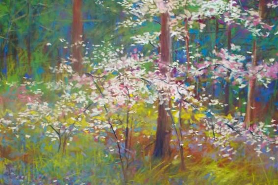 Dogwood and Bluebells, painting by Artist, Nick Serratore