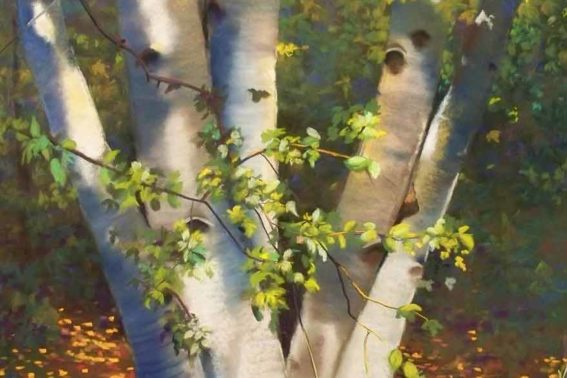 Woodland Series Birches III, painting by Artist, Nick Serratore